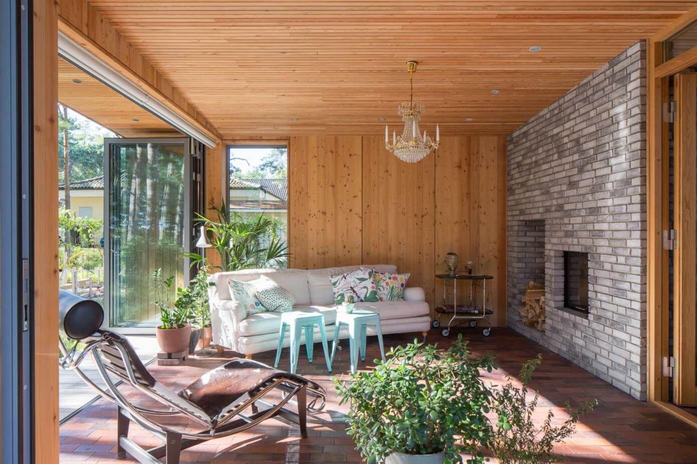 open nature living room wooden interior