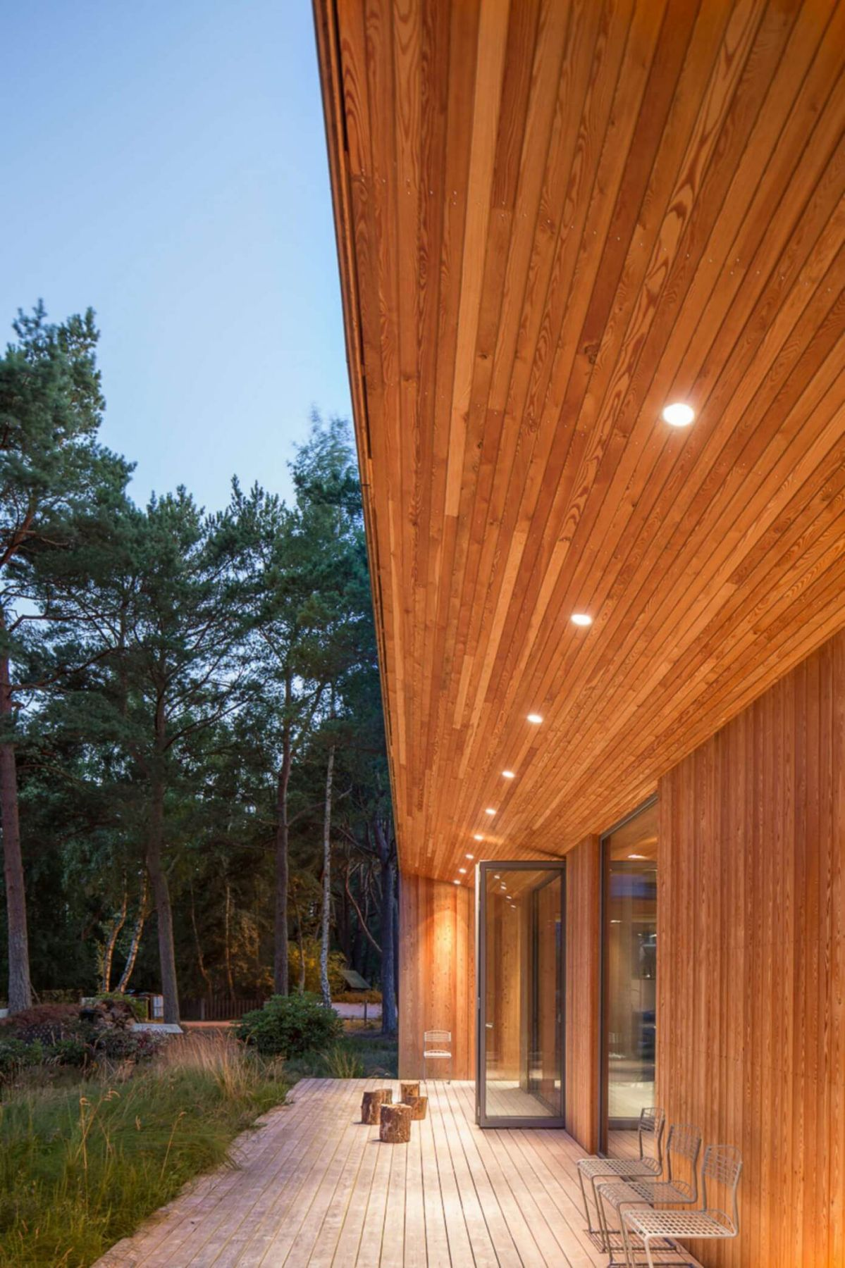 wooden outdoor ceiling and deck