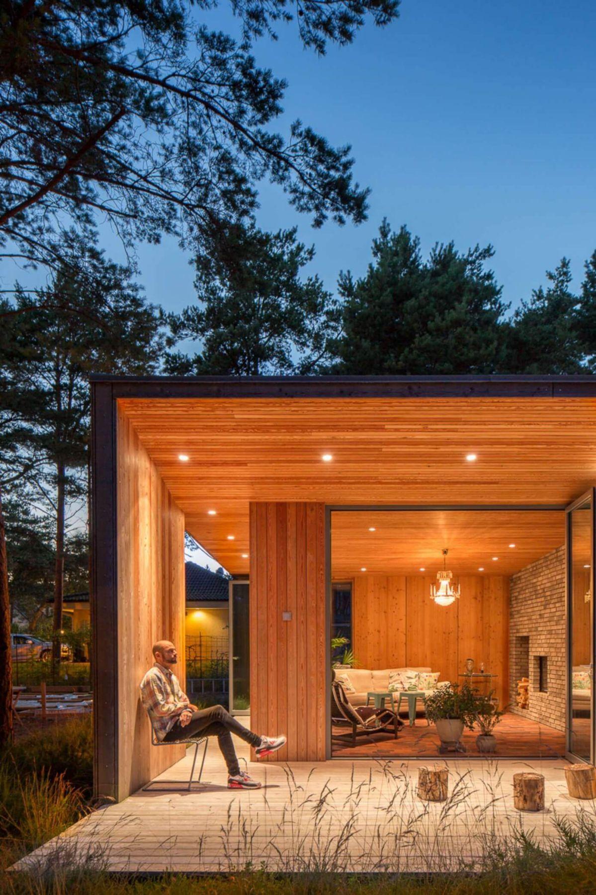 modern wooden deck exterior