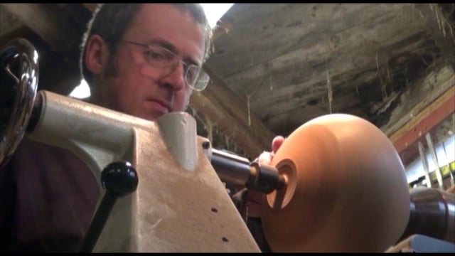 Wood turner Liam Flynn exposing the process of creating his wood vessels, from the wood log to the final artistic ...