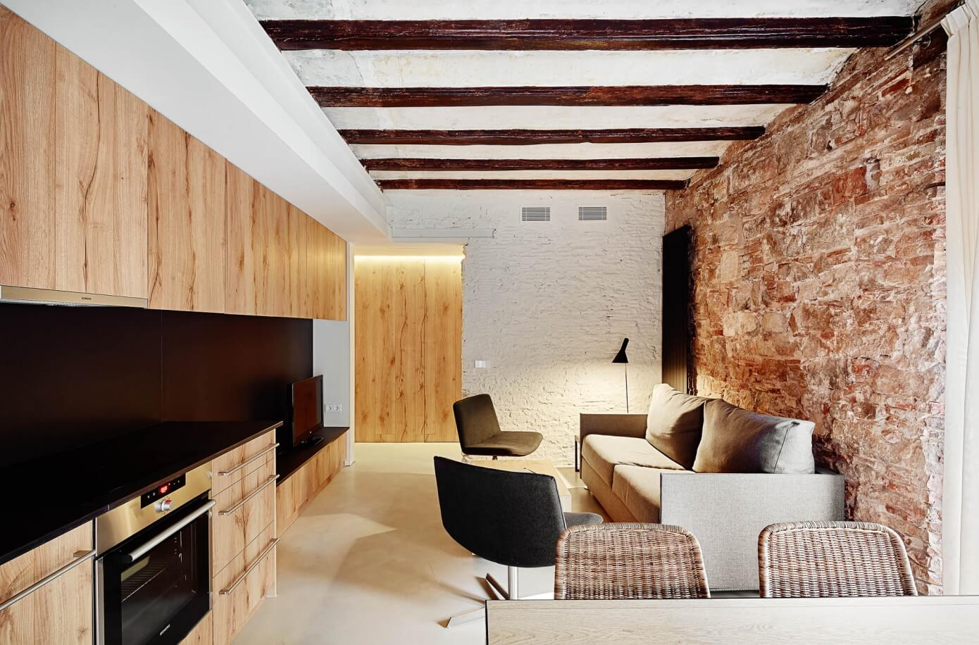 Old bricks and wood interior walls