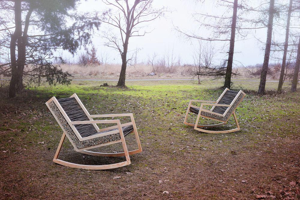 Haluz rocking-chair by studiovacek ash wood willow
