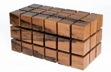 A company named RPR which stands for RockPaperRobot designed this innovative wooden Rubik's Cube-like coffee table named the Float Table.