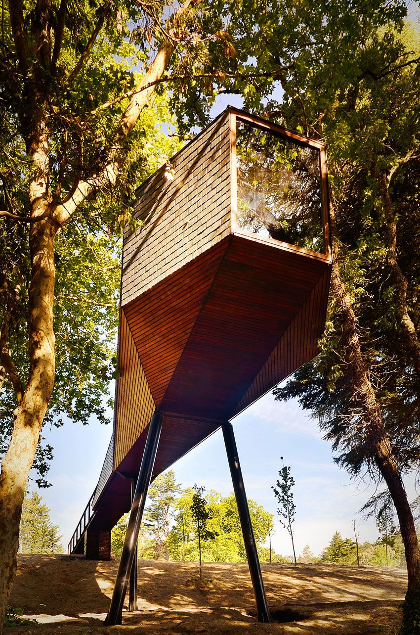 wooden tree houses of Pedras Salgadas Park