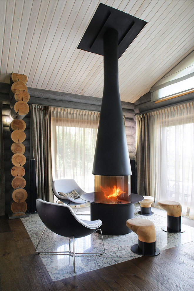 Moscow Log House cozy modern interior fireplace