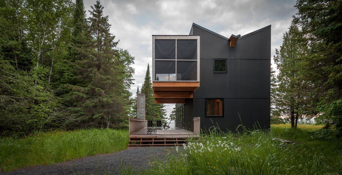 contemporary wooden design house in Herbster, Wisconsin