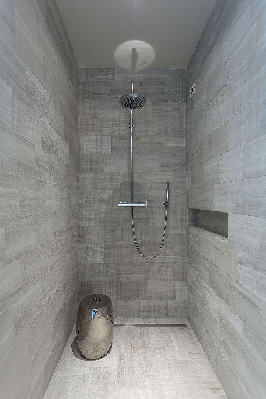 modern architecture emphasizing wooden design shower