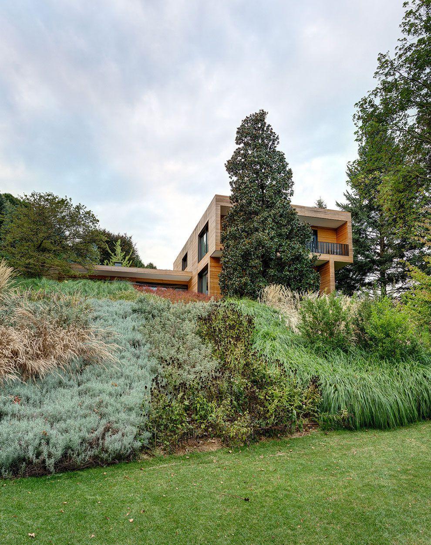 modern architecture emphasizing wooden design house