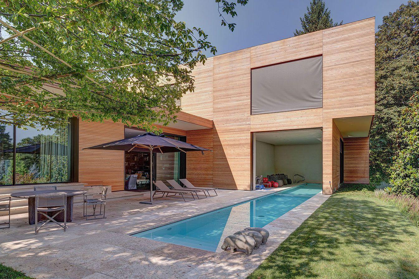 modern architecture emphasizing wooden design exterior