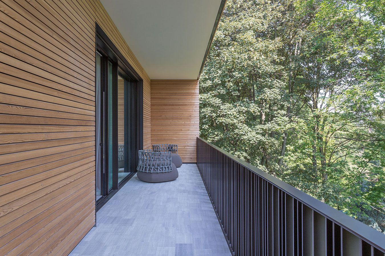 modern architecture emphasizing wooden design balcony