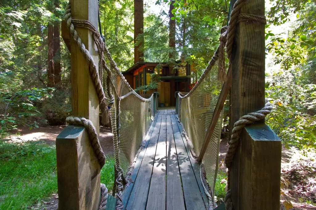 A small forest path leads to the Redwood Treehouse which makes this location secluded from the city and other people, ...