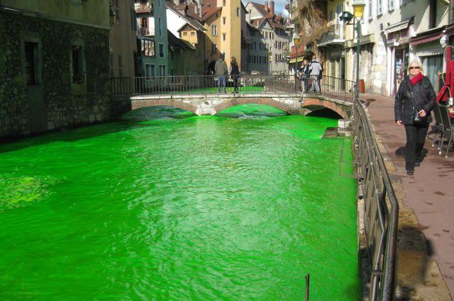 In towns across France, people woke up to find their rivers beaming with a weird green glow on Monday, April ...