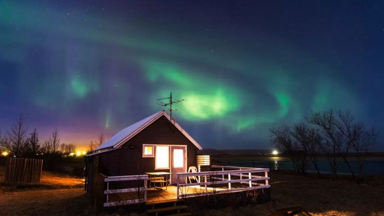 Charming lodge is situated in an idyllic location in Iceland, not far from the small town of Klaustur.