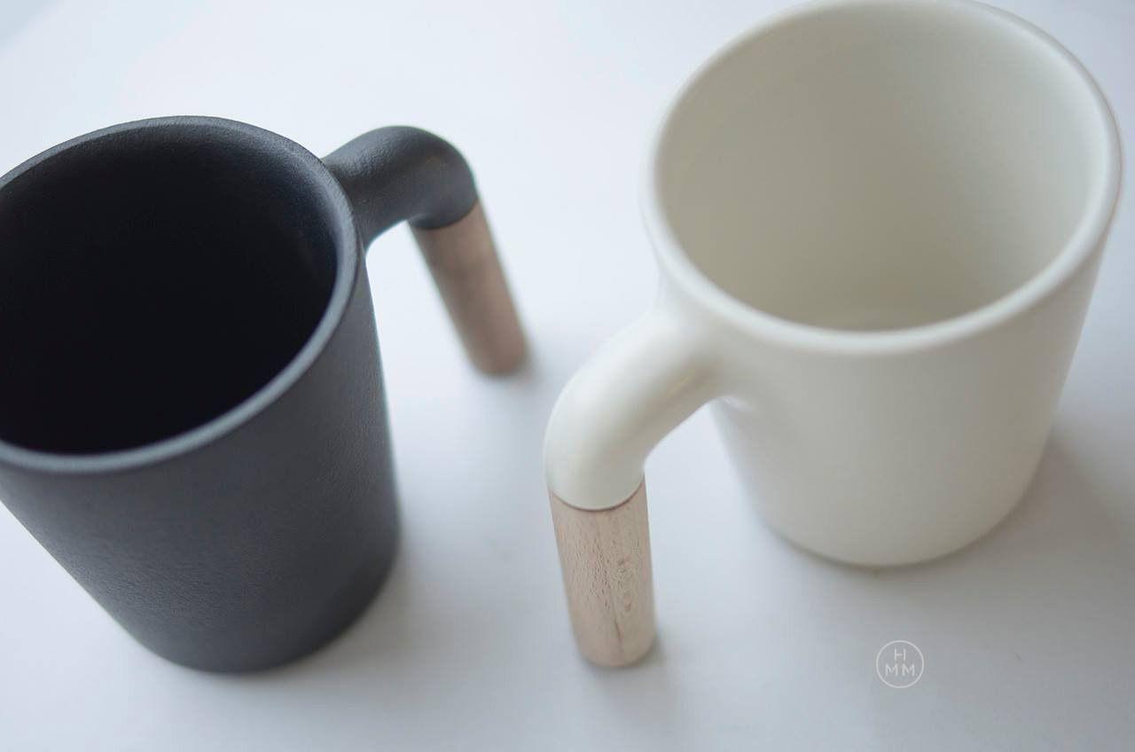 coffee mug ceramic wooden handle