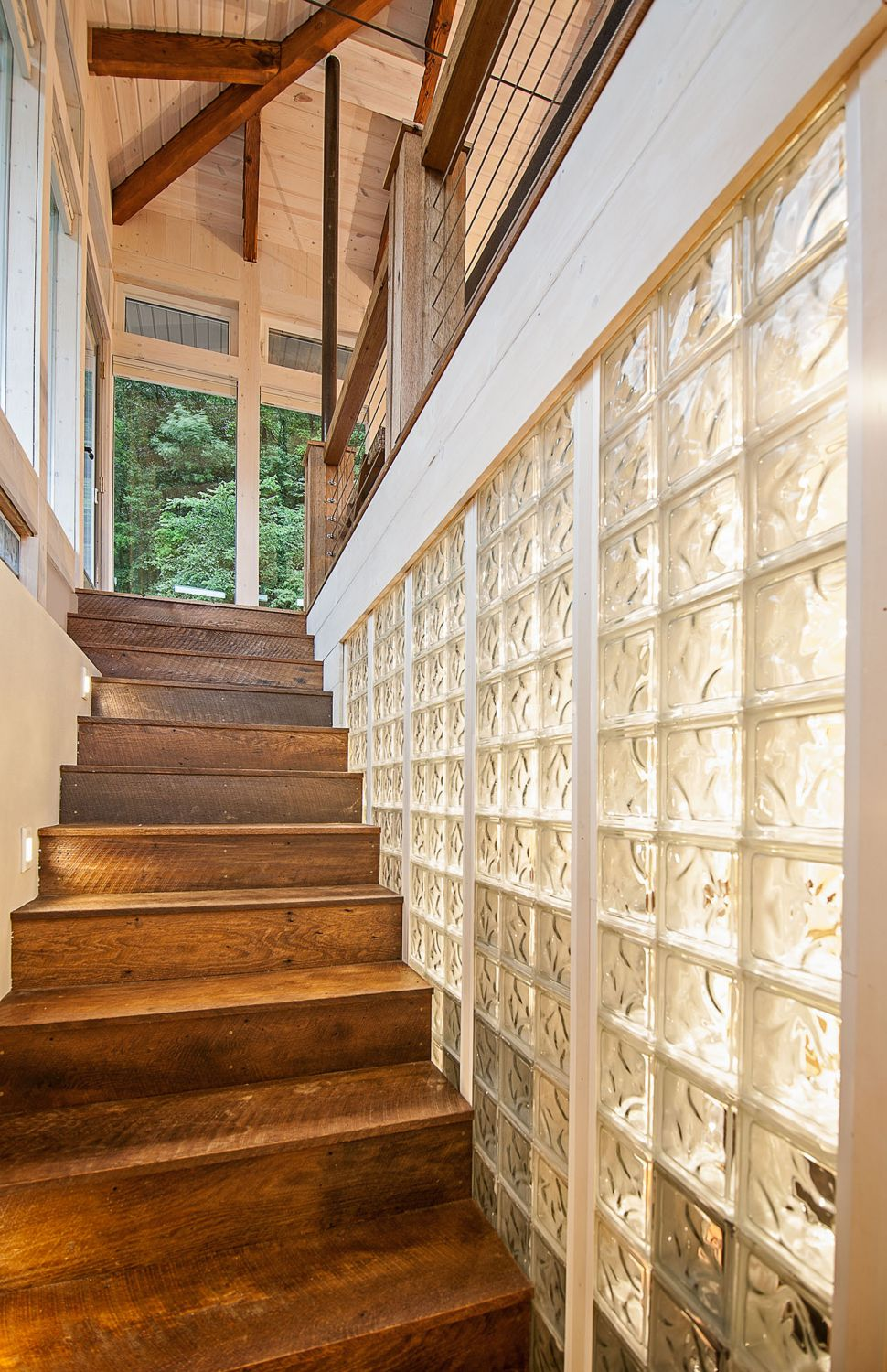 glass and wood house cabin in Madison, Wisconsin wooden stairs