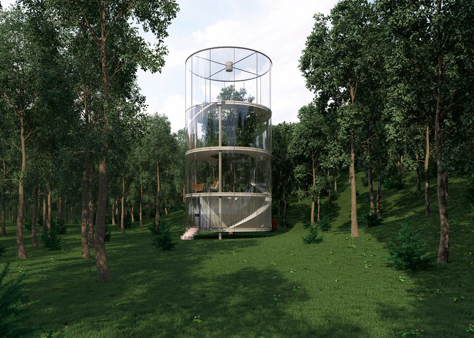 Architect Aibek Almassov takes the concept of the tree house to the extreme by fully enveloping a living tree.