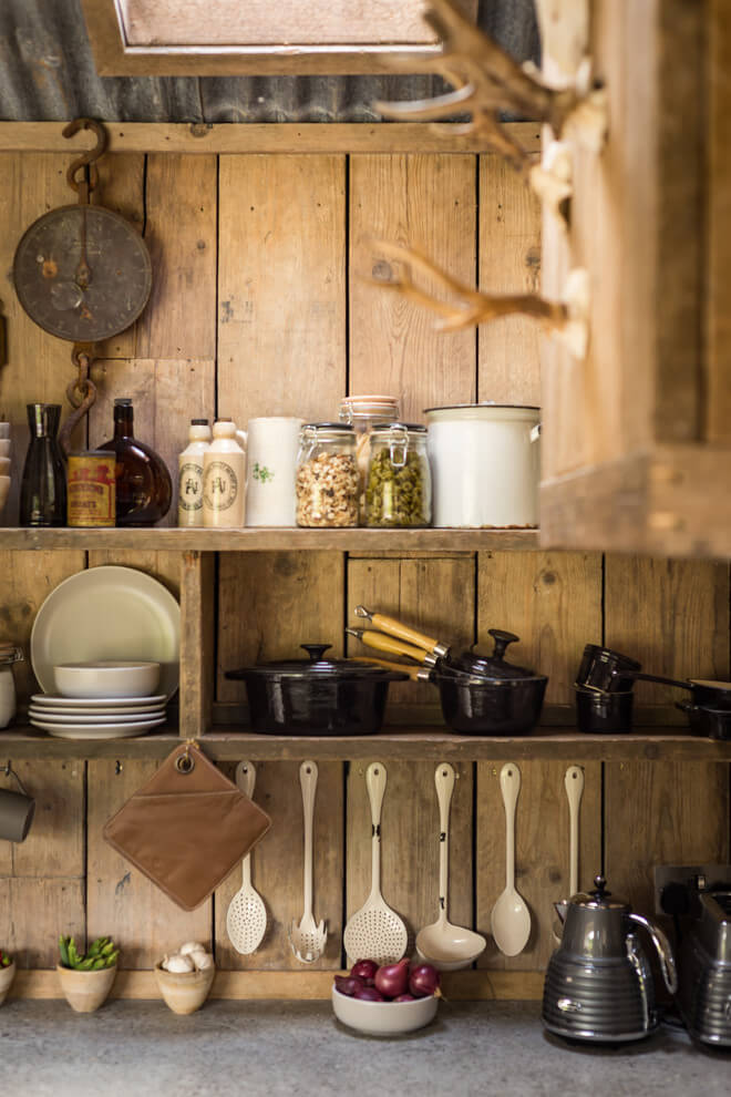 A beautiful wooden cottage in North Cornwall. wooden rustic interior kitchen