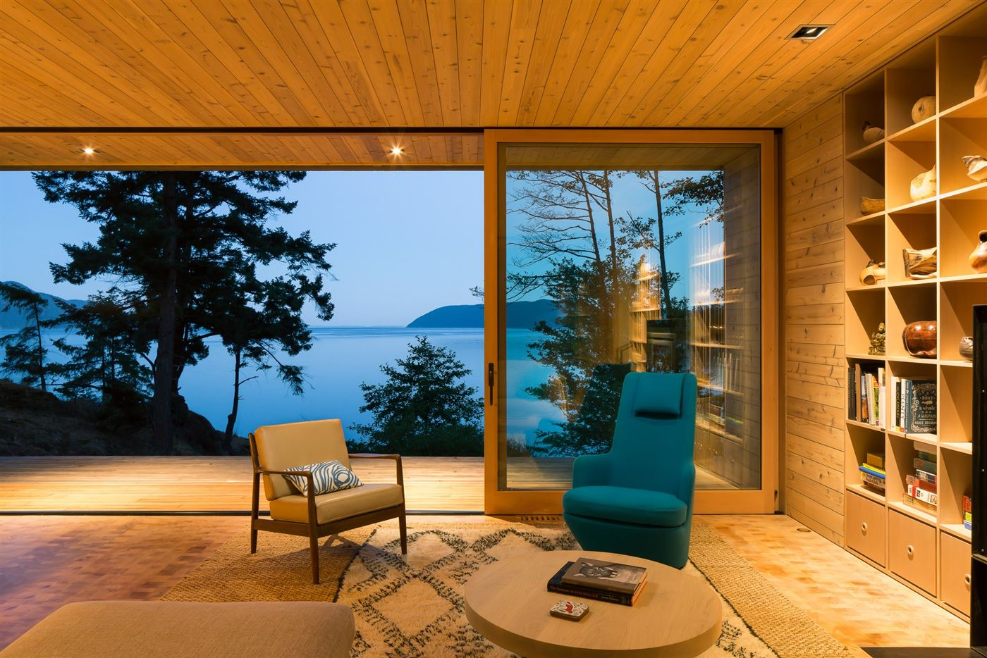 Wooden interior living rom with a view to the ocean