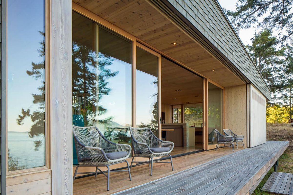 wooden porch with glass sliding doors modern wooden retreat house
