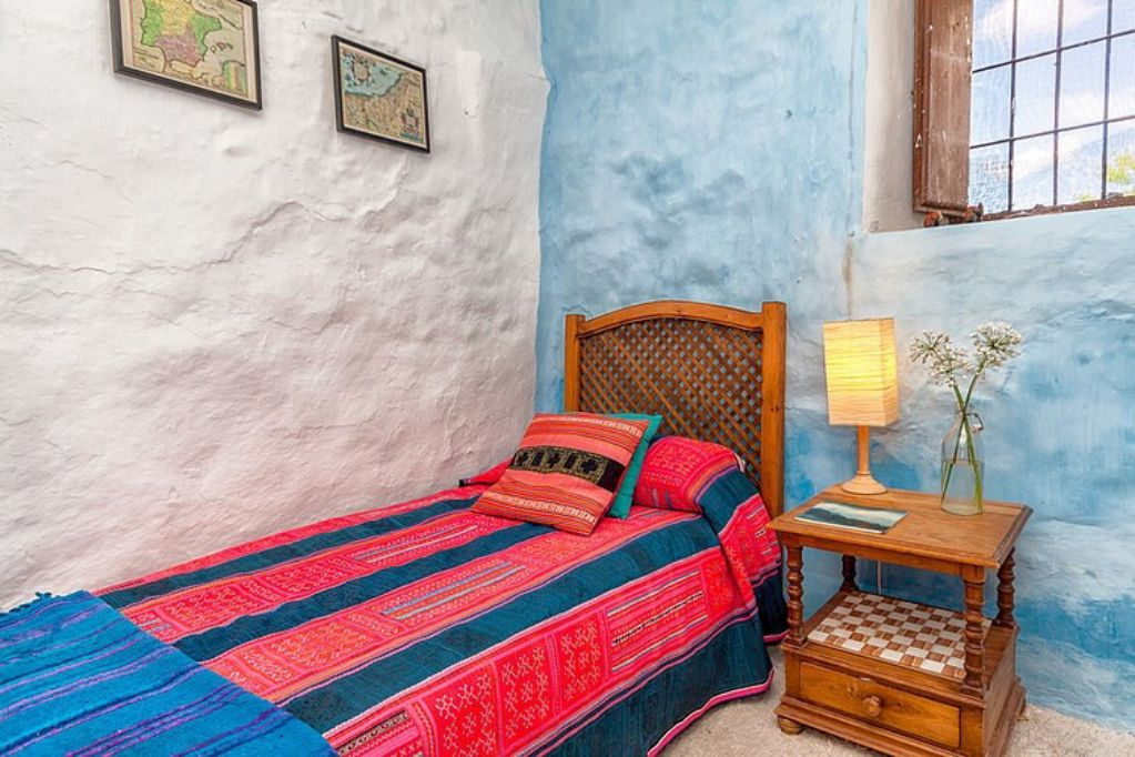 Mediterranean colorful Spanish cottage rustic furniture bed