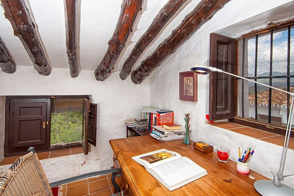 Mediterranean colorful Spanish cottage office room