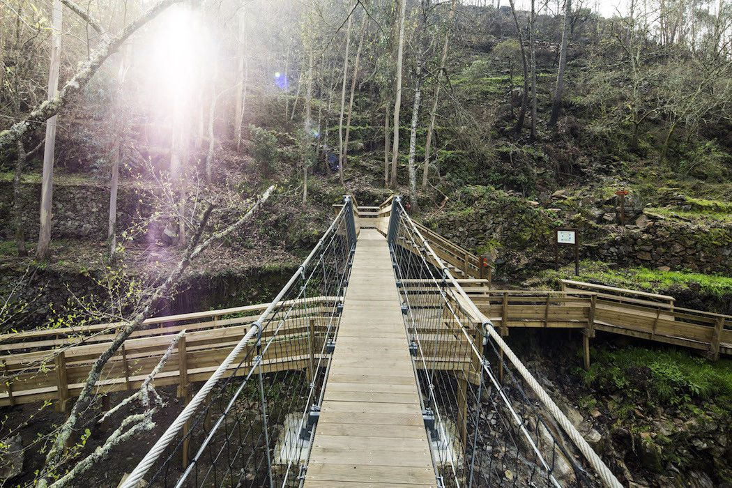 Paiva wooden walkway along a river in Portugal
