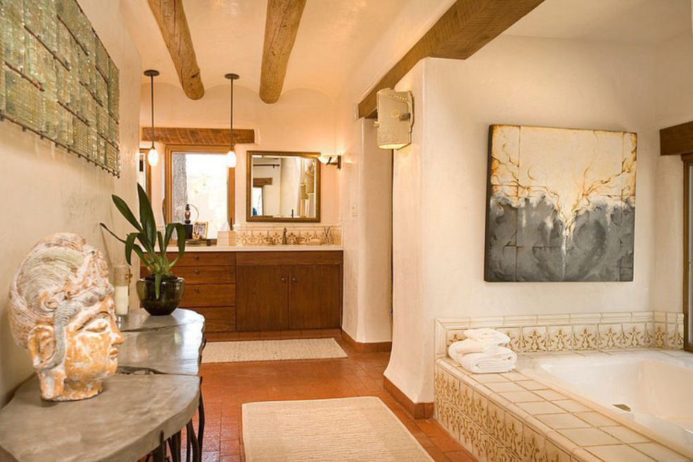 bathroom in a contemporary home interior design emphasizing wood