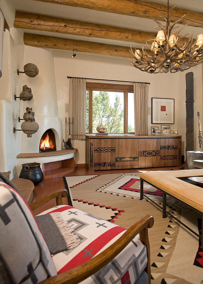 wooden design living room with a fireplace and aztec elements