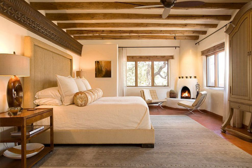 bedroom interior design emphasiing wood
