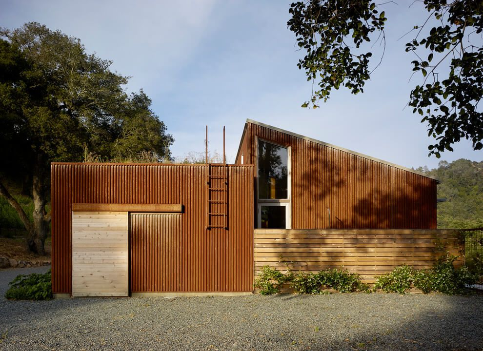 wooden exterior design vineyard house