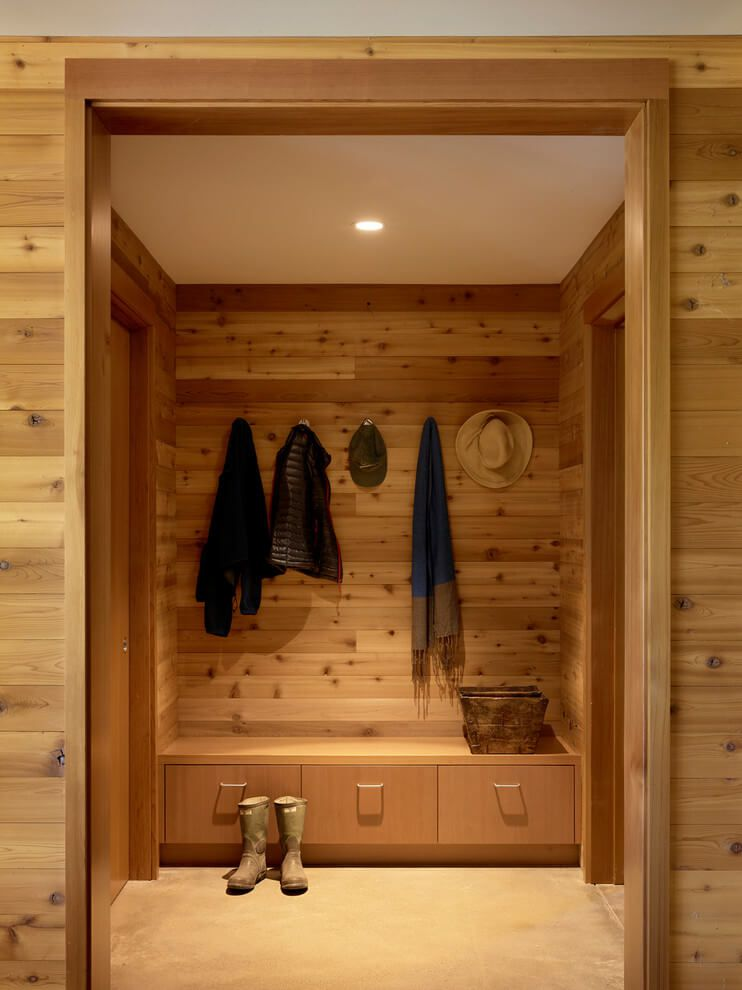 wooden interior entrance mudroom
