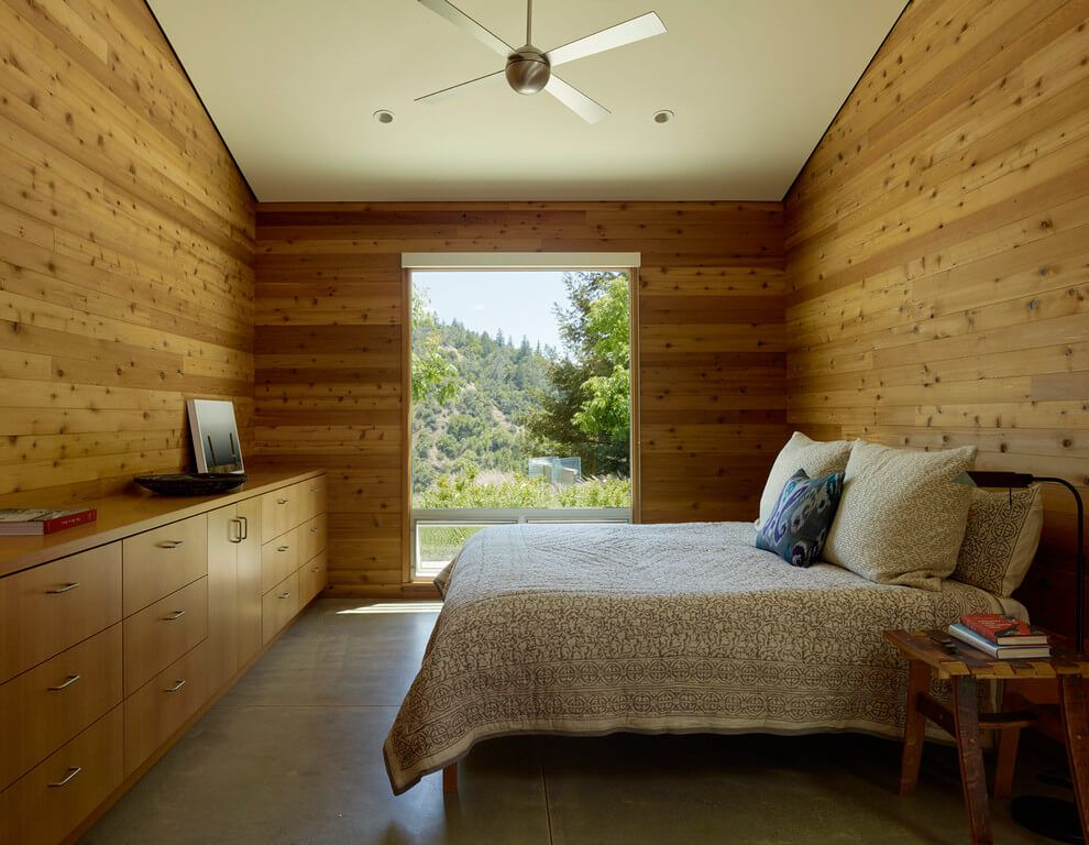 wooden interior and walls bedroom