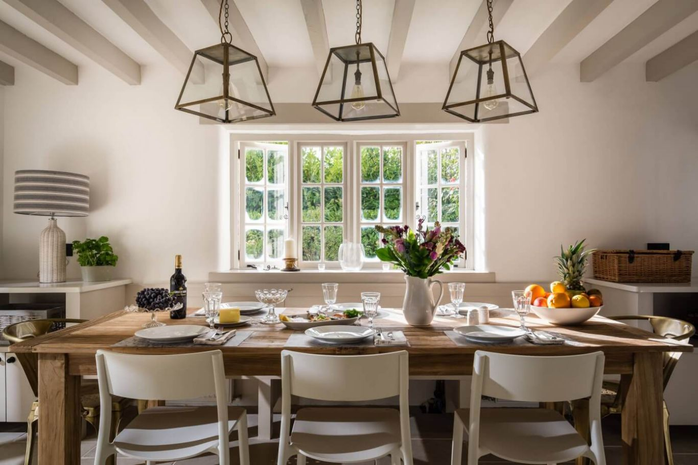 renovated 17th century cottage with large wooden dining table