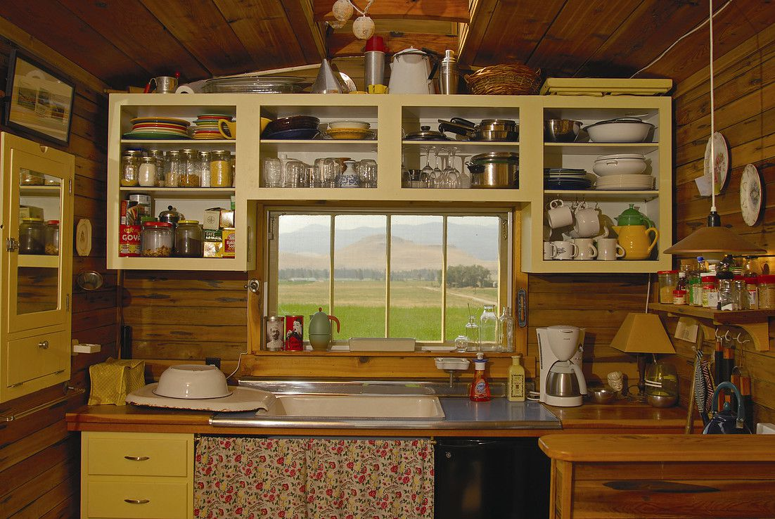 wooden hut cabin kitchen