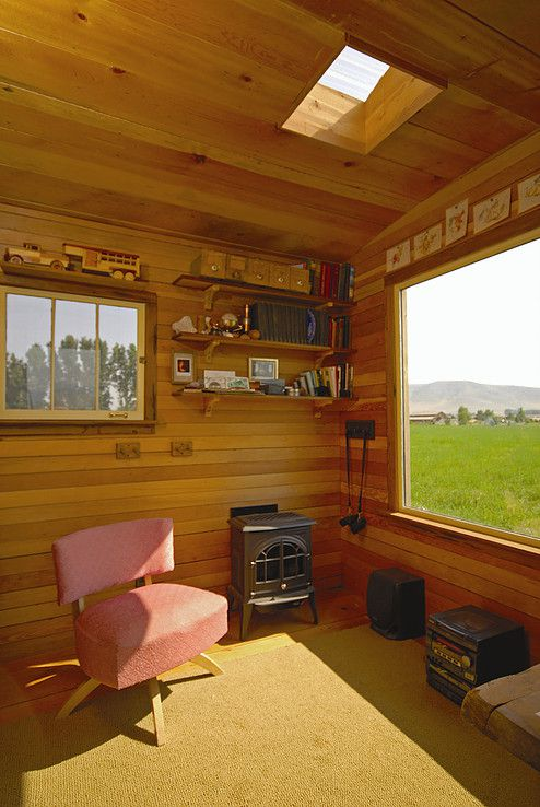 wooden hut cabin living room