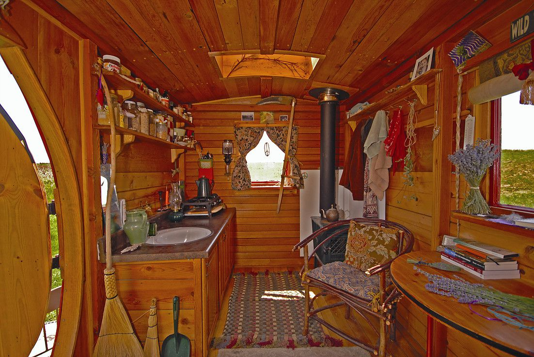 wooden tiny cabin kitchen
