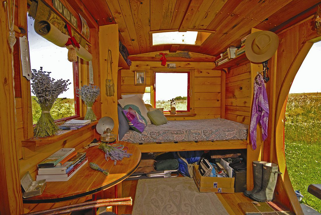 wooden small cabin hut living room