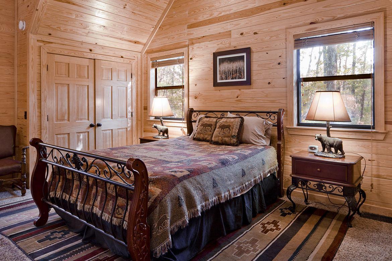 wood cabin bedroom, cozy wooden bed design ideas