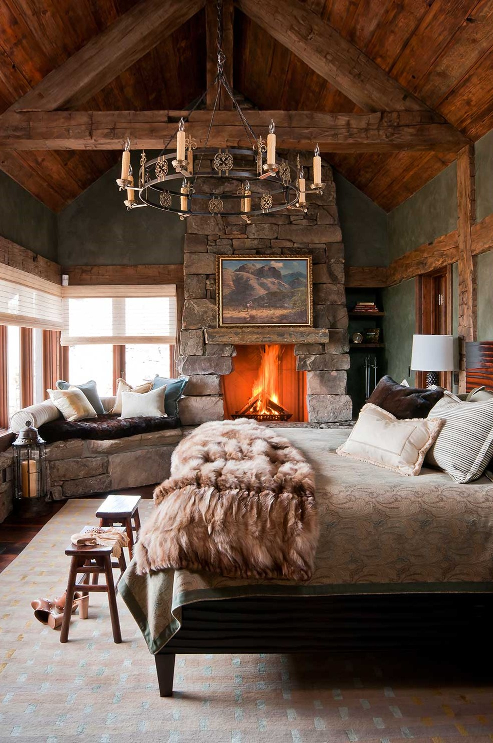 wood ceiling and cozy fireplace, bedroom design ideas