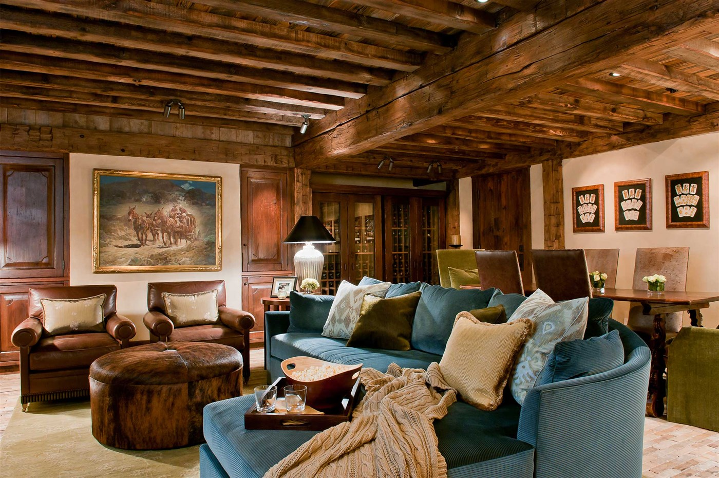 wood beam ceiling, living room design ideas, cabin