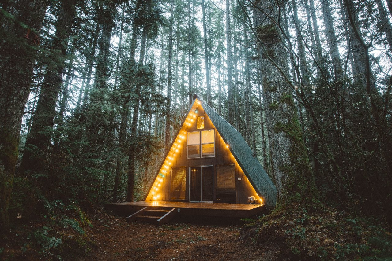 cozy wood cabin at night