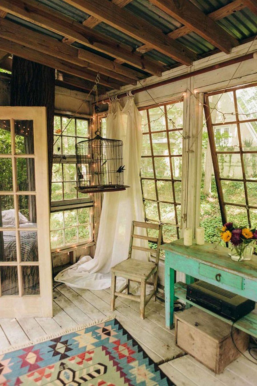 wood tree house living room design ideas