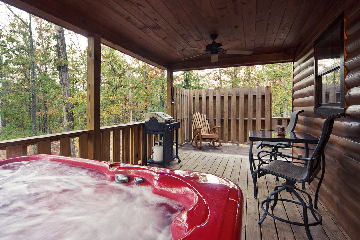 wood terrace design ideas with jacuzzi, cabin fever