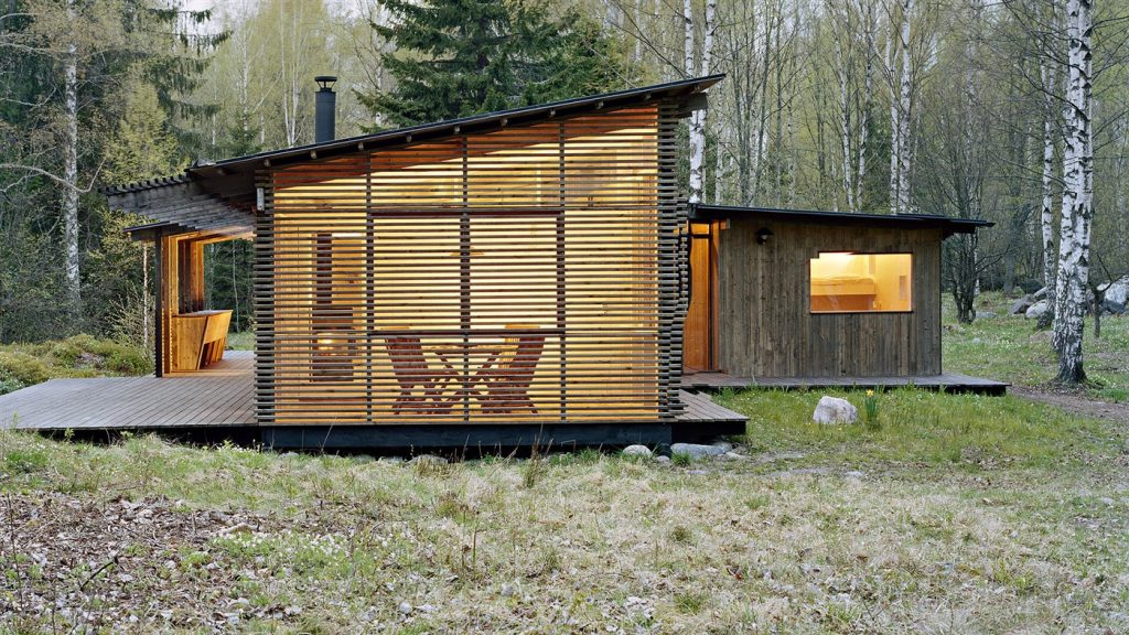 wood facade, cabin design ideas