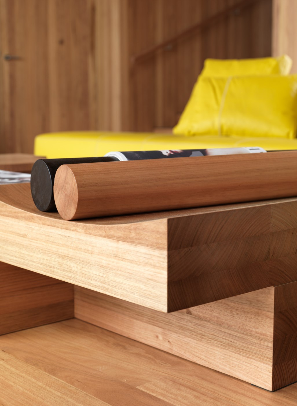 wooden detail stick and a table in modern house