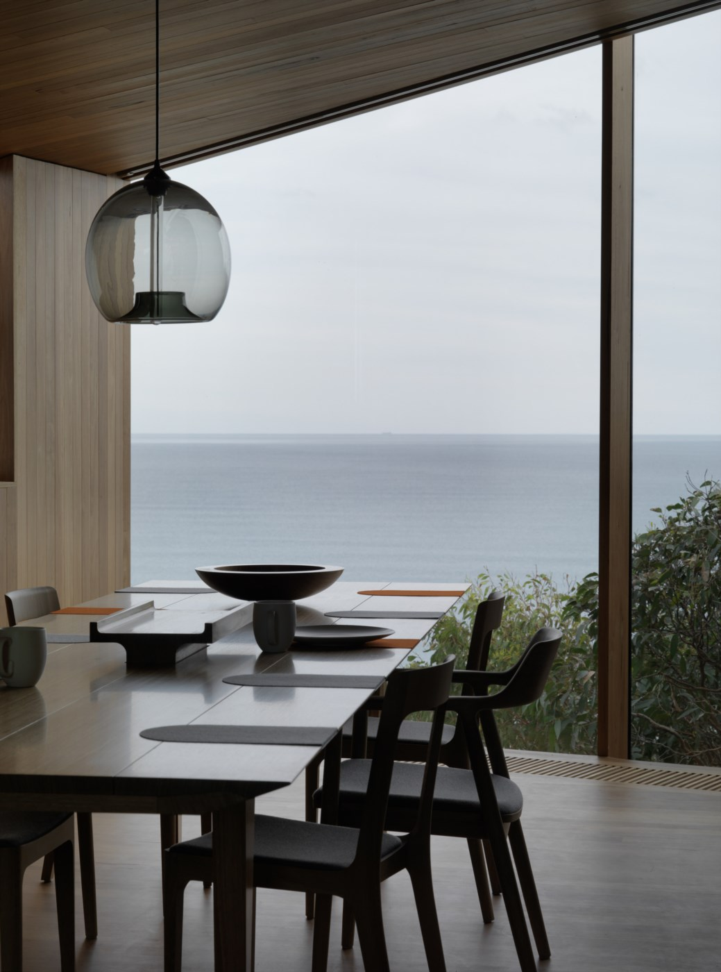dining room with striking view to the ocean