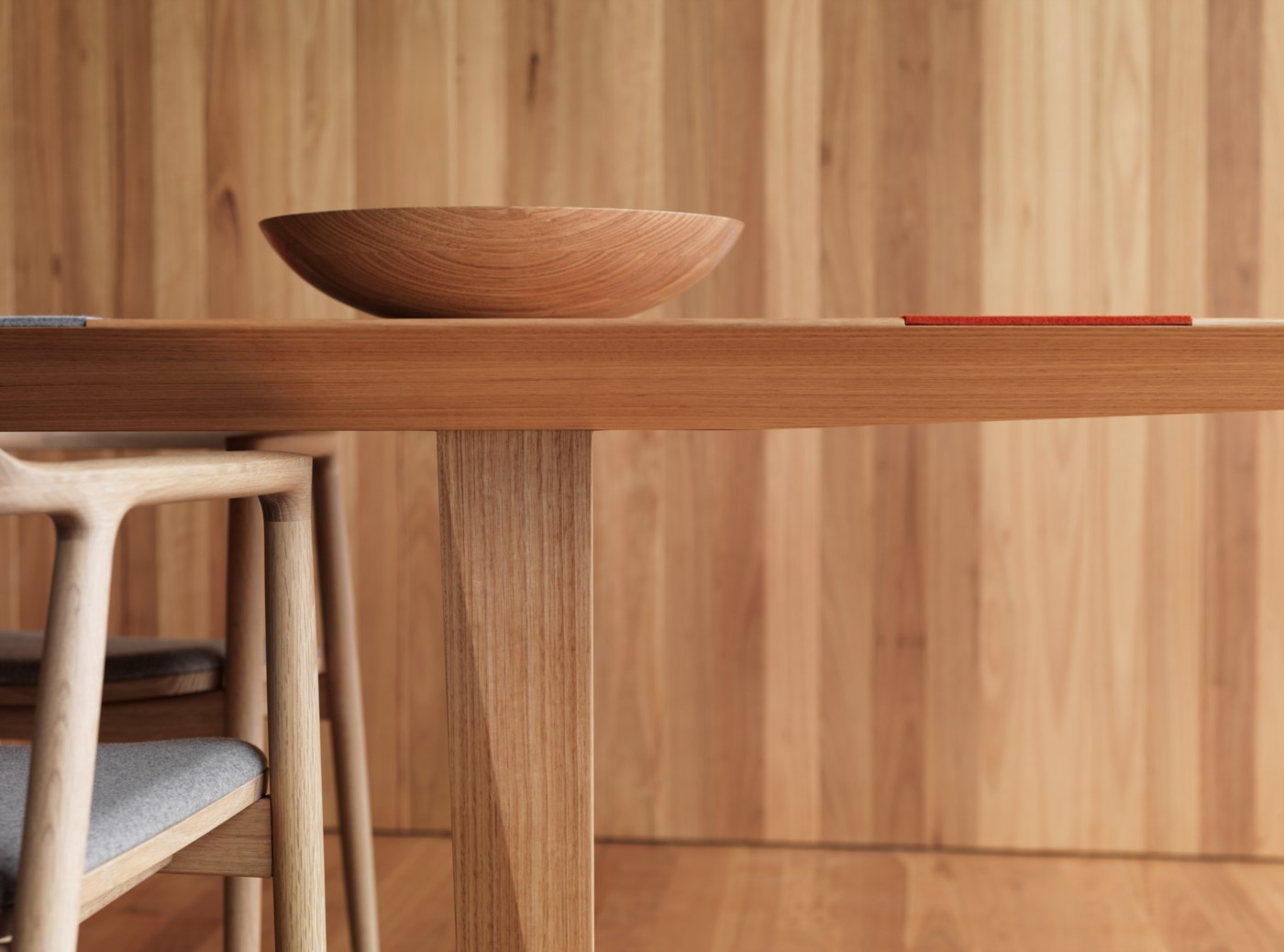 wood dining table and wood bowl, modern timber furniture