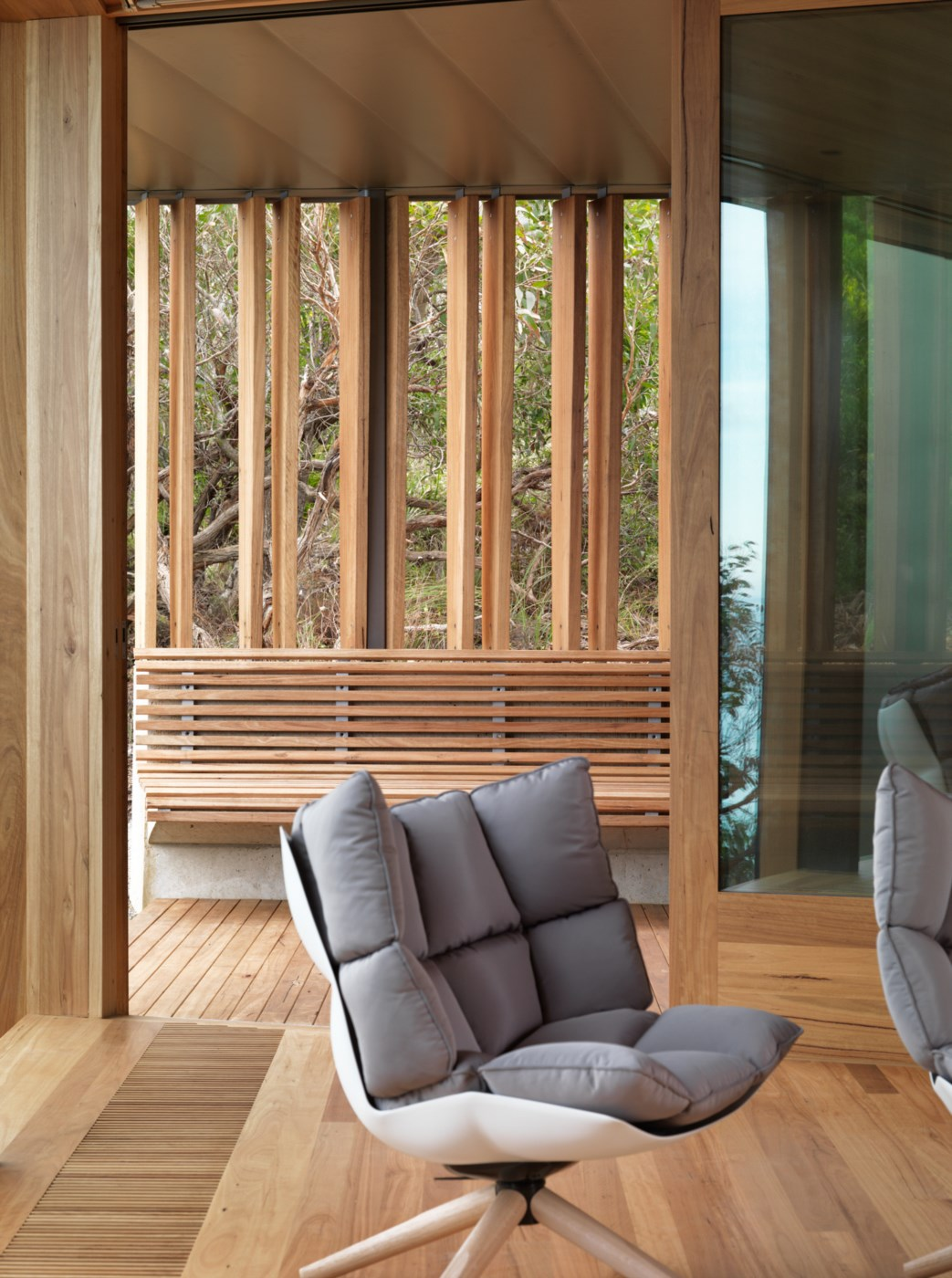 wooden timber interior, modern living room, open walls and great view