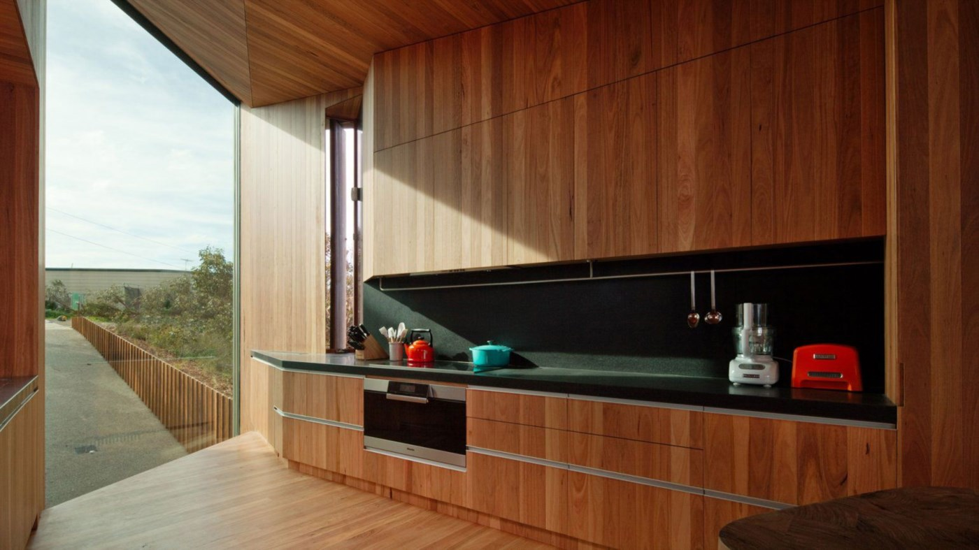 wooden timber interior, kitchen with stunning view, wood cladding walls and ceiling
