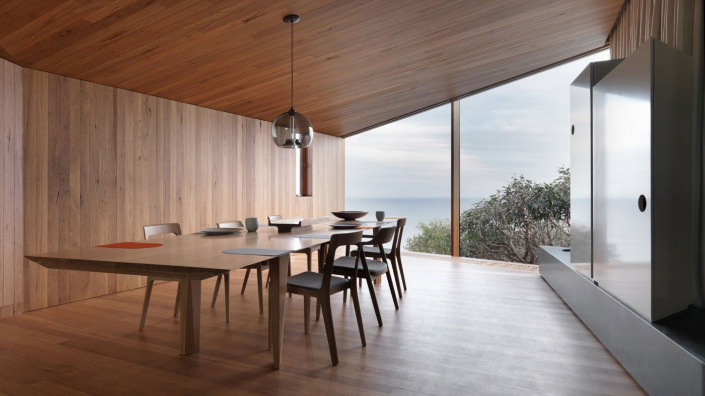 wooden timber interior, modern dining room with stunning view, wood cladding walls and ceiling